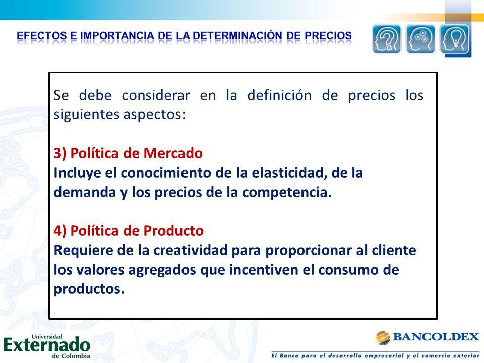 Se debe considerar en la definición de precios los siguientes aspectos: 3) Política de Mercado Incluye el conocimiento de la elasticidad, de la demand