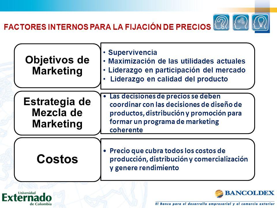 Supervivencia Maximización de las utilidades actuales Liderazgo en participación del mercado Liderazgo en calidad del producto Objetivos de Marketing