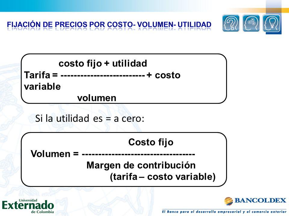Si la utilidad es = a cero: costo fijo + utilidad Tarifa = -------------------------- + costo variable volumen Costo fijo Volumen = ------------------