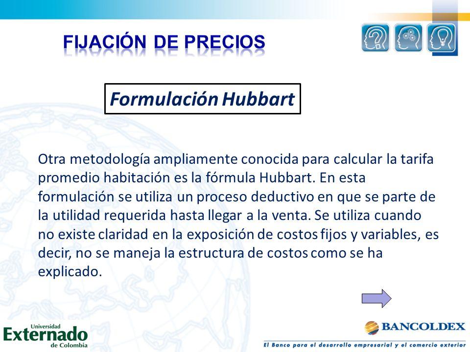 Formulación Hubbart Otra metodología ampliamente conocida para calcular la tarifa promedio habitación es la fórmula Hubbart. En esta formulación se ut