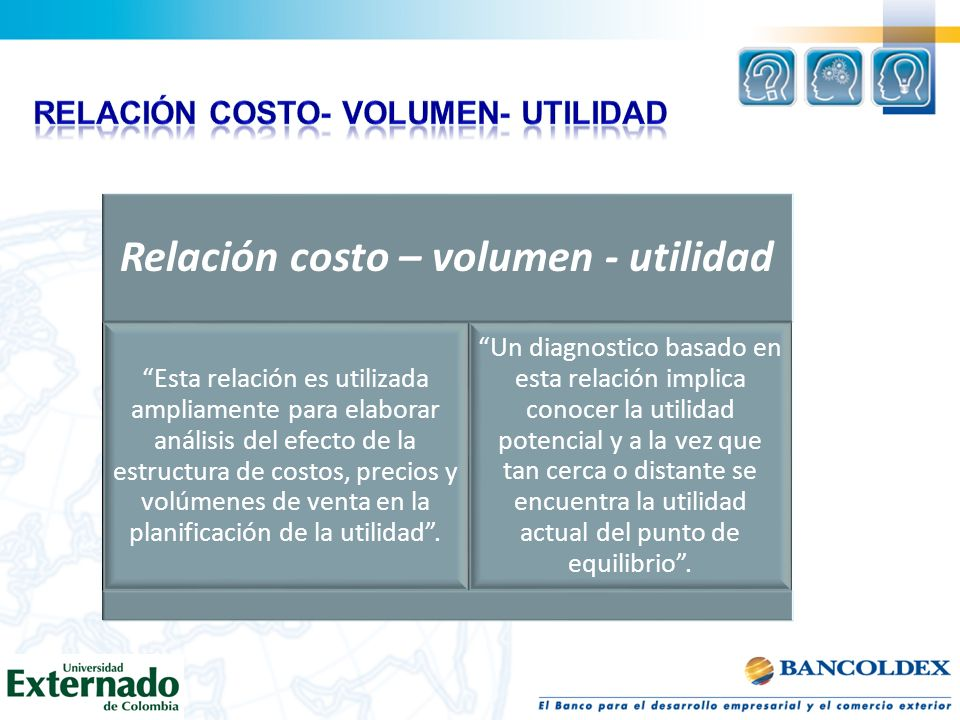 Relación costo – volumen - utilidad Esta relación es utilizada ampliamente para elaborar análisis del efecto de la estructura de costos, precios y vol