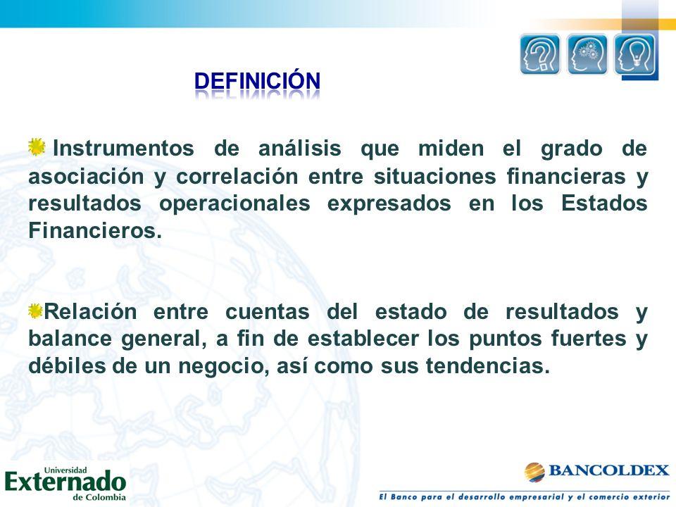 Instrumentos de análisis que miden el grado de asociación y correlación entre situaciones financieras y resultados operacionales expresados en los Est