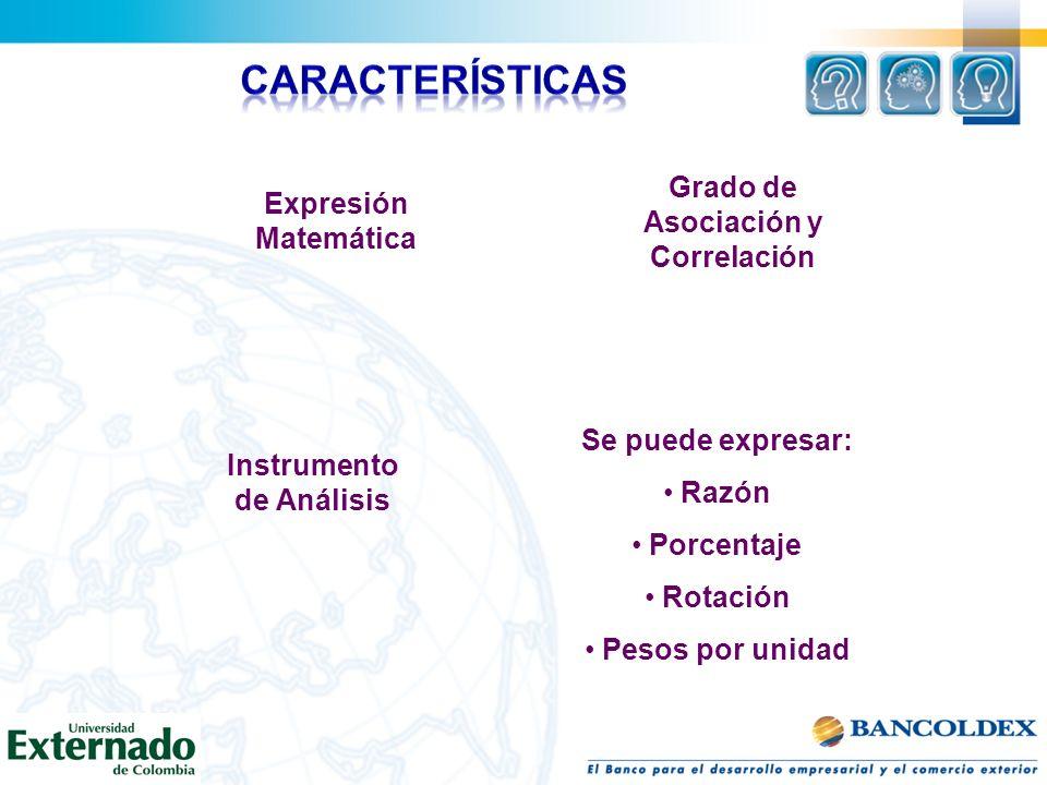 Expresión Matemática Instrumento de Análisis Se puede expresar: Razón Porcentaje Rotación Pesos por unidad Grado de Asociación y Correlación