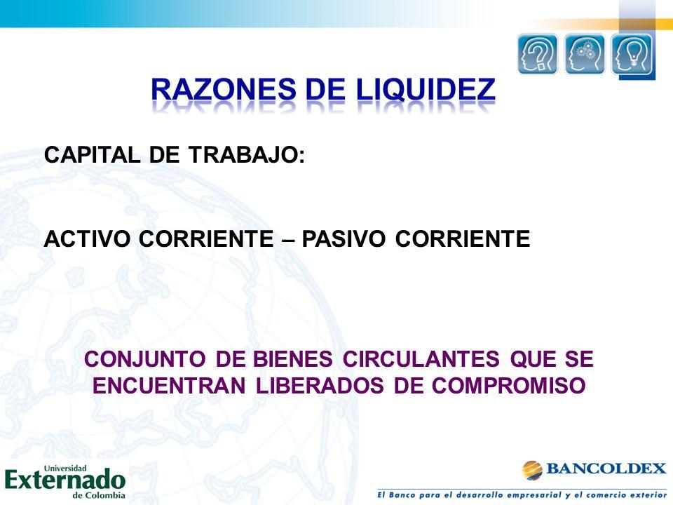CAPITAL DE TRABAJO: ACTIVO CORRIENTE – PASIVO CORRIENTE CONJUNTO DE BIENES CIRCULANTES QUE SE ENCUENTRAN LIBERADOS DE COMPROMISO