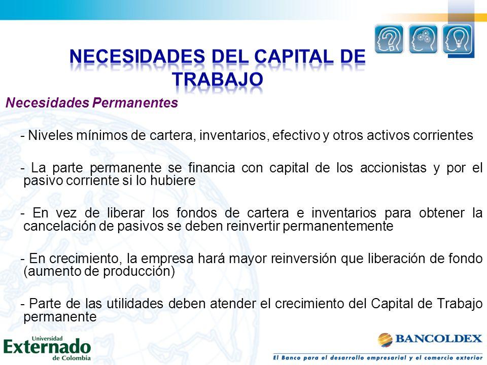 Necesidades Permanentes - Niveles mínimos de cartera, inventarios, efectivo y otros activos corrientes - La parte permanente se financia con capital d