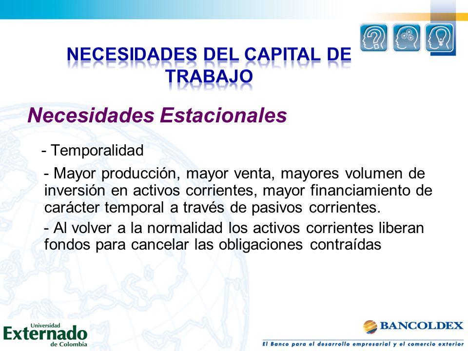 Necesidades Estacionales - Temporalidad - Mayor producción, mayor venta, mayores volumen de inversión en activos corrientes, mayor financiamiento de c