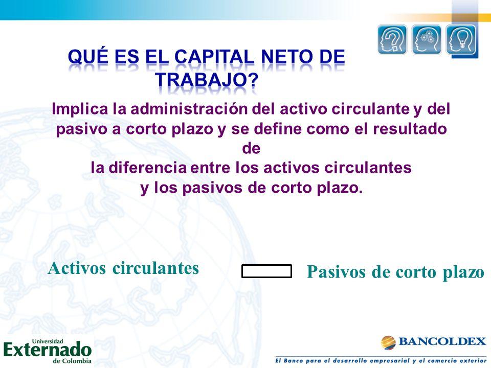 Implica la administración del activo circulante y del pasivo a corto plazo y se define como el resultado de la diferencia entre los activos circulante