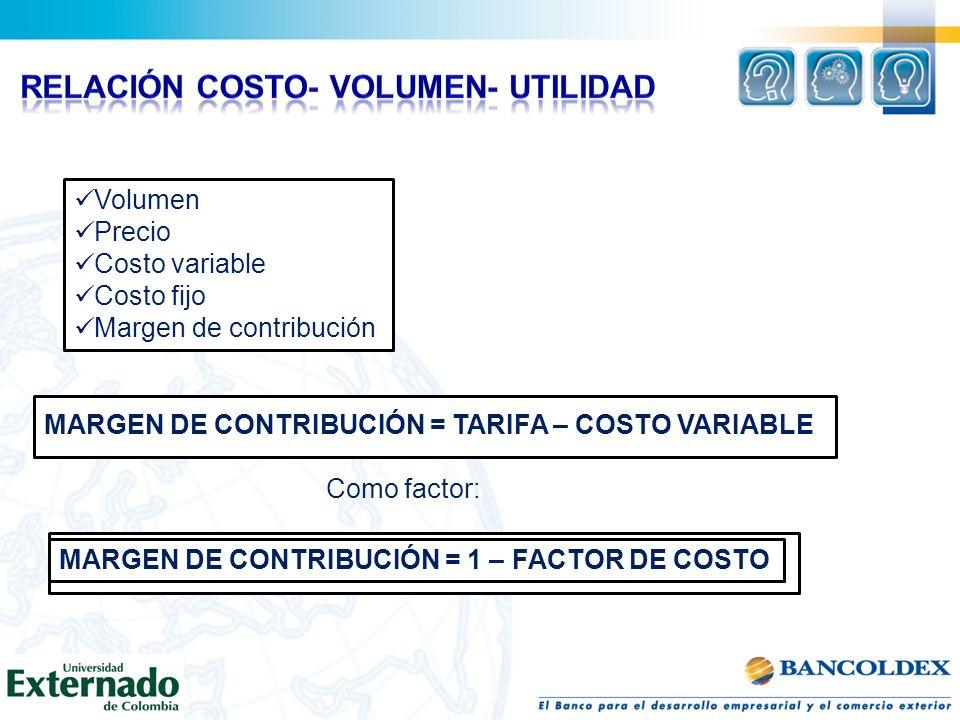 Volumen Precio Costo variable Costo fijo Margen de contribución MARGEN DE CONTRIBUCIÓN = TARIFA – COSTO VARIABLE Como factor: MARGEN DE CONTRIBUCIÓN =