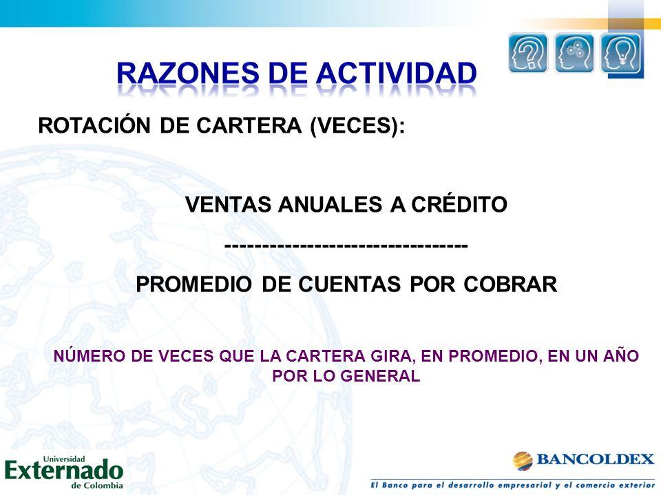 ROTACIÓN DE CARTERA (VECES): VENTAS ANUALES A CRÉDITO --------------------------------- PROMEDIO DE CUENTAS POR COBRAR NÚMERO DE VECES QUE LA CARTERA