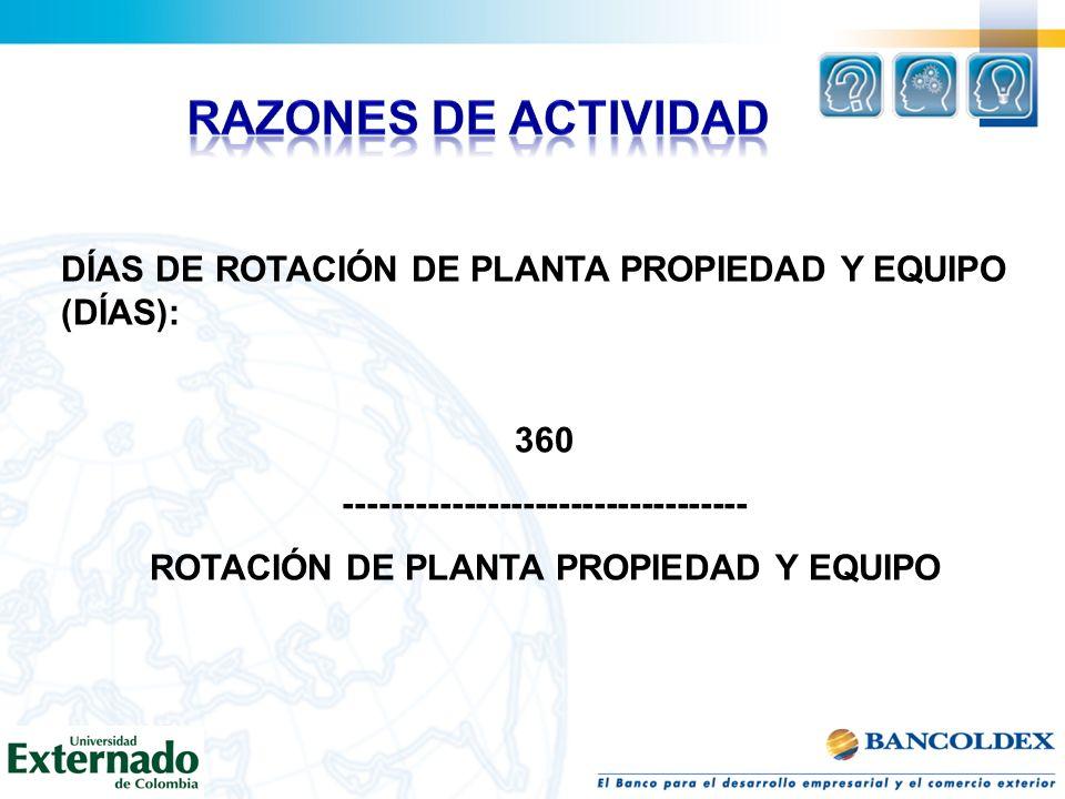 DÍAS DE ROTACIÓN DE PLANTA PROPIEDAD Y EQUIPO (DÍAS): 360 ---------------------------------- ROTACIÓN DE PLANTA PROPIEDAD Y EQUIPO