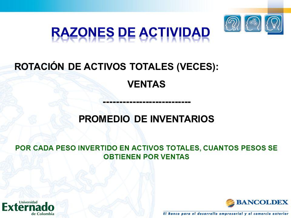 ROTACIÓN DE ACTIVOS TOTALES (VECES): VENTAS --------------------------- PROMEDIO DE INVENTARIOS POR CADA PESO INVERTIDO EN ACTIVOS TOTALES, CUANTOS PE