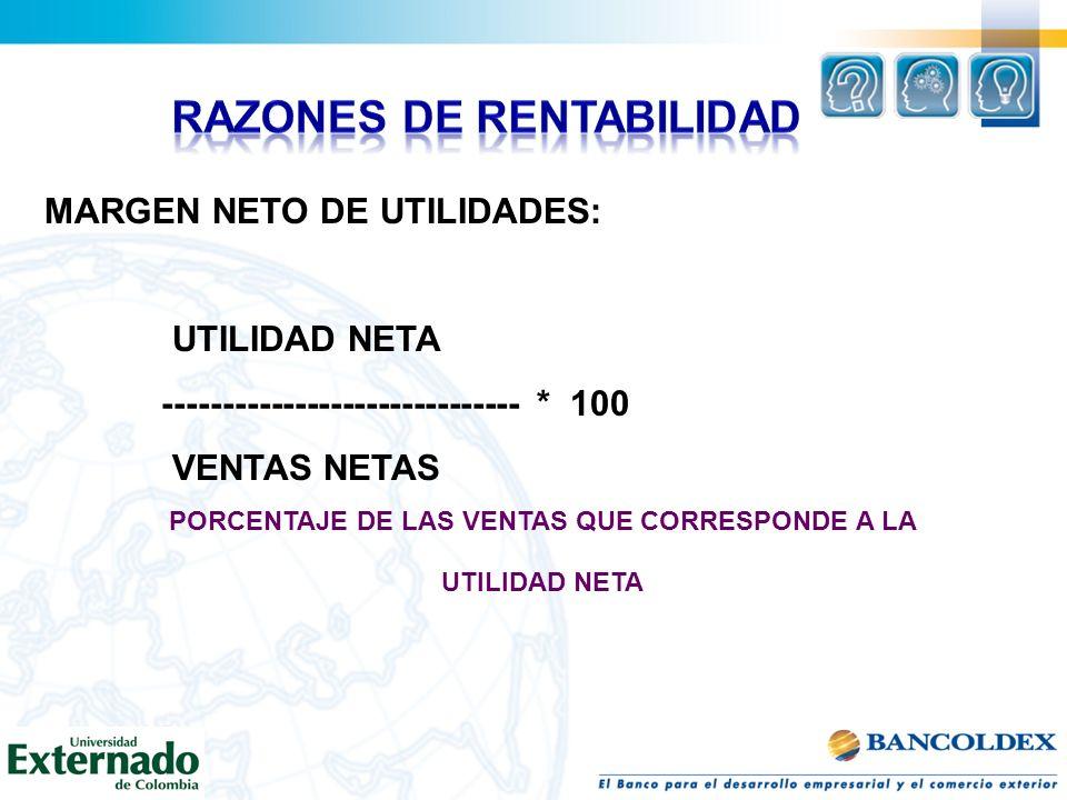 MARGEN NETO DE UTILIDADES: UTILIDAD NETA ------------------------------ * 100 VENTAS NETAS PORCENTAJE DE LAS VENTAS QUE CORRESPONDE A LA UTILIDAD NETA