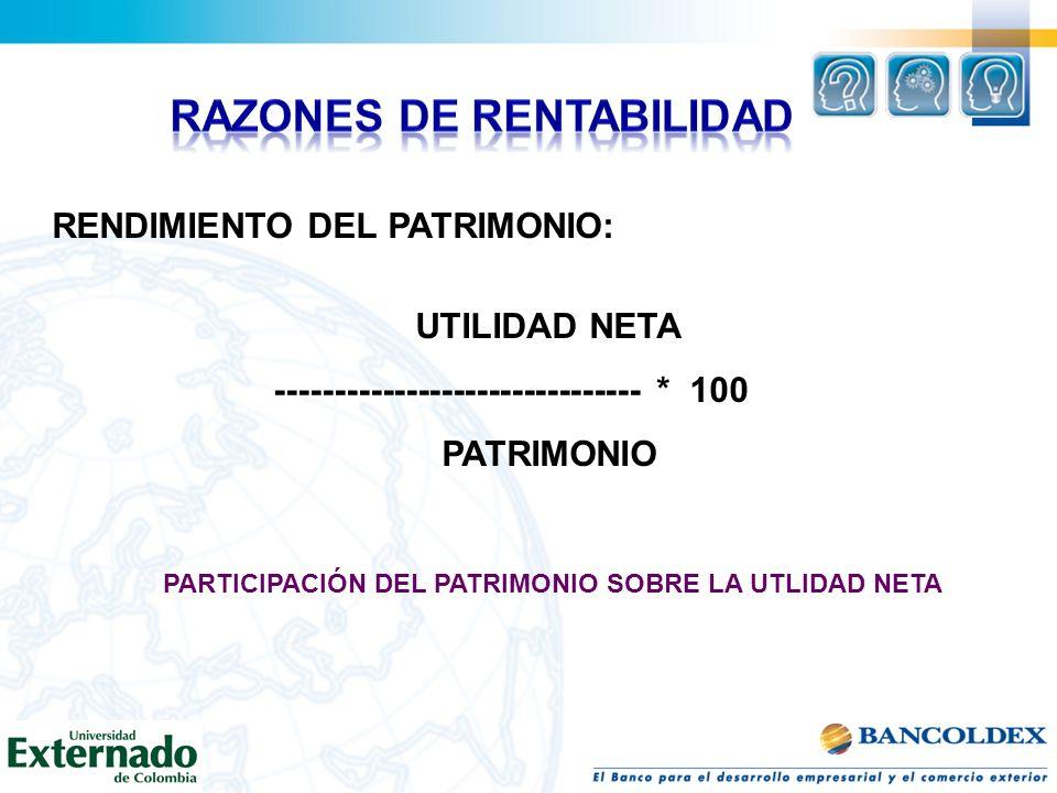 RENDIMIENTO DEL PATRIMONIO: UTILIDAD NETA ------------------------------- * 100 PATRIMONIO PARTICIPACIÓN DEL PATRIMONIO SOBRE LA UTLIDAD NETA