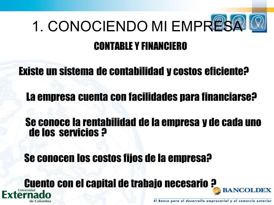 1. CONOCIENDO MI EMPRESA MERCADEO Y COMERCIO Cual es el nivel de reconocimiento de la empresa dentro del sector? La empresa tiene detectadas y evaluad