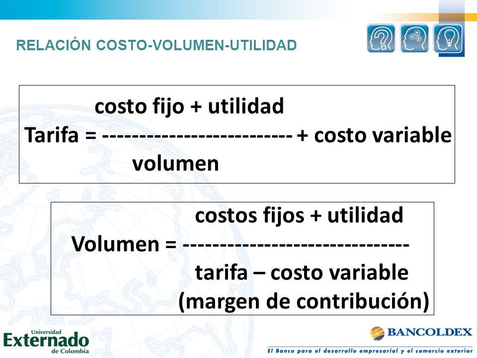 costo fijo + utilidad Tarifa = -------------------------- + costo variable volumen costos fijos + utilidad Volumen = ------------------------------- t