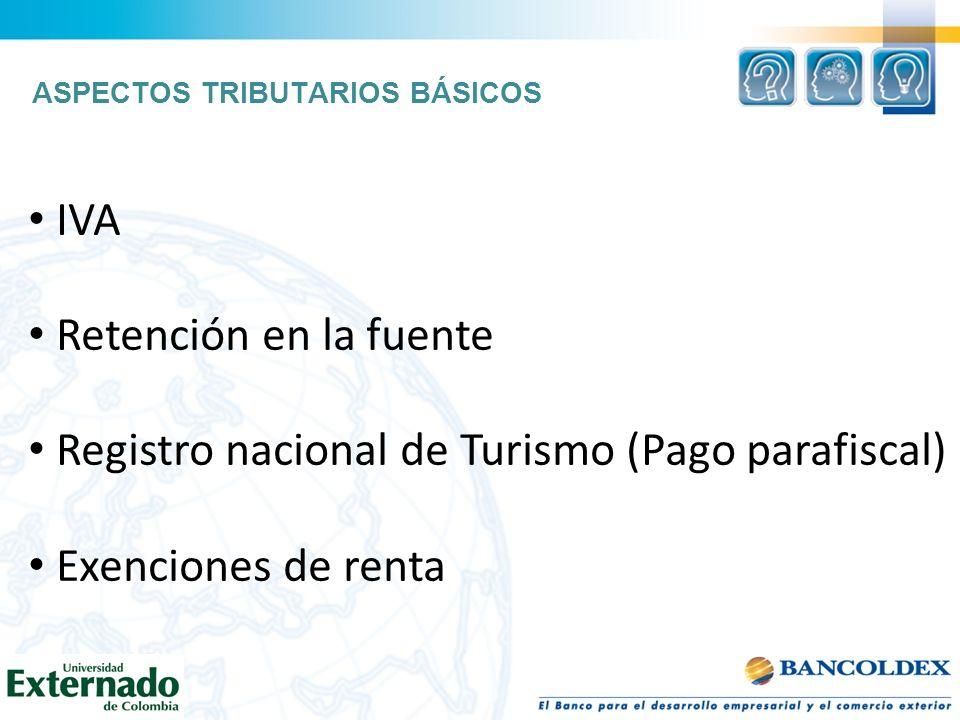 ASPECTOS TRIBUTARIOS BÁSICOS IVA Retención en la fuente Registro nacional de Turismo (Pago parafiscal) Exenciones de renta