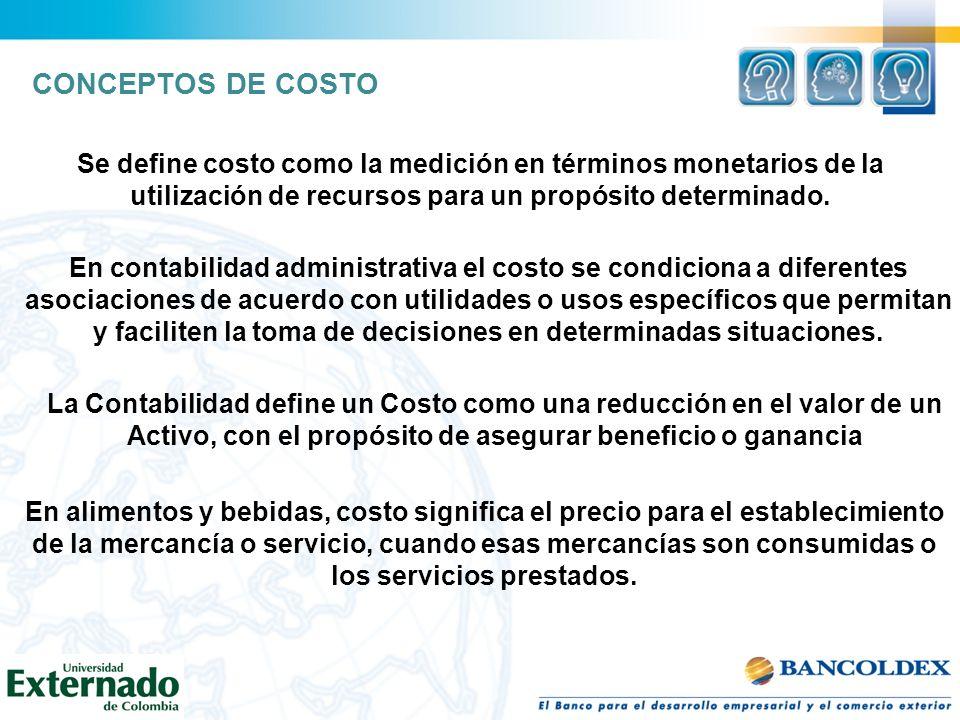 CONCEPTOS DE COSTO Se define costo como la medición en términos monetarios de la utilización de recursos para un propósito determinado. En contabilida