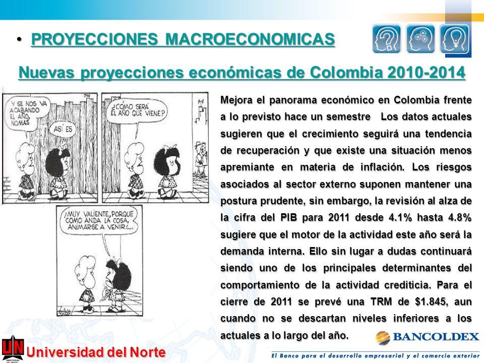Universidad del Norte PROYECCIONES MACROECONOMICAS PROYECCIONES MACROECONOMICASPROYECCIONES MACROECONOMICASPROYECCIONES MACROECONOMICAS Nuevas proyecc