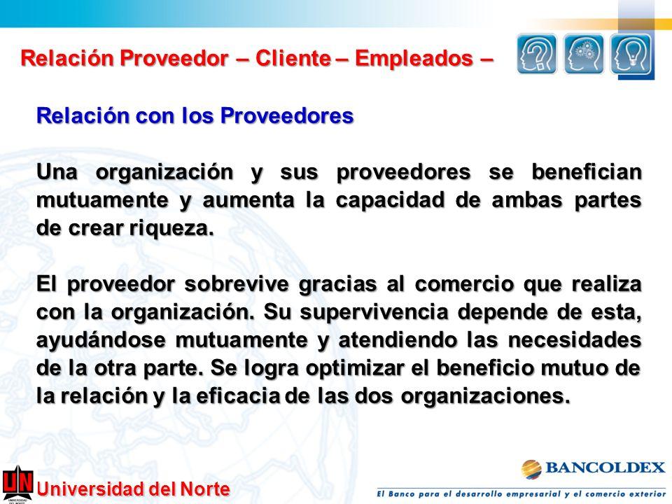 Universidad del Norte Relación Proveedor – Cliente – Empleados – Relación con los Proveedores Una organización y sus proveedores se benefician mutuame