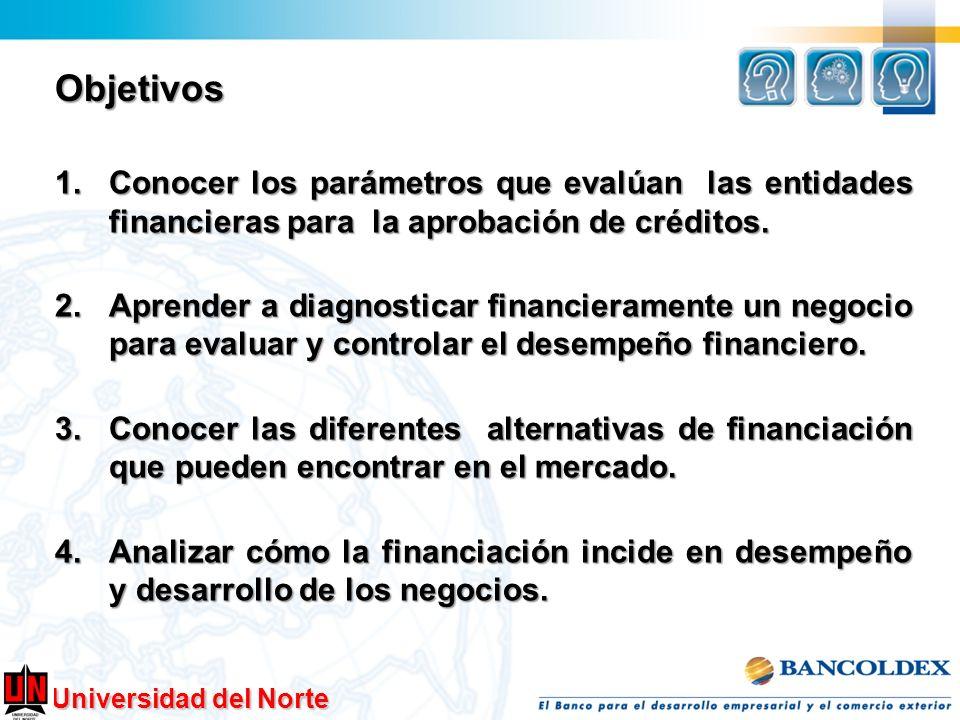 Objetivos 1.Conocer los parámetros que evalúan las entidades financieras para la aprobación de créditos. 2.Aprender a diagnosticar financieramente un