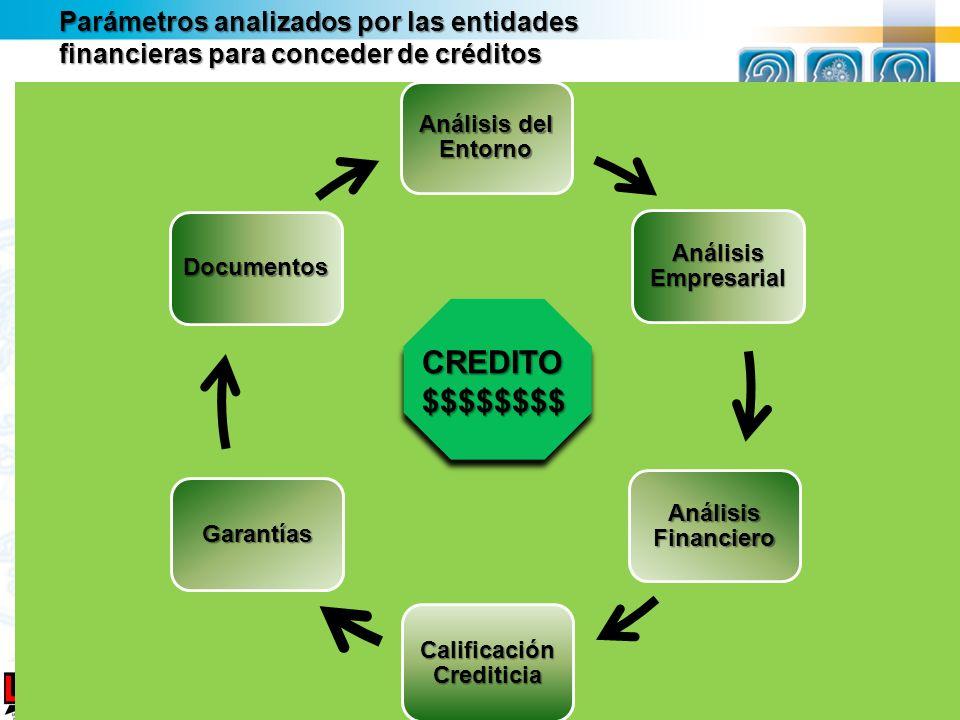 Análisis del Entorno Análisis Empresarial Análisis Financiero Calificación Crediticia Garantías Documentos Parámetros analizados por las entidades fin