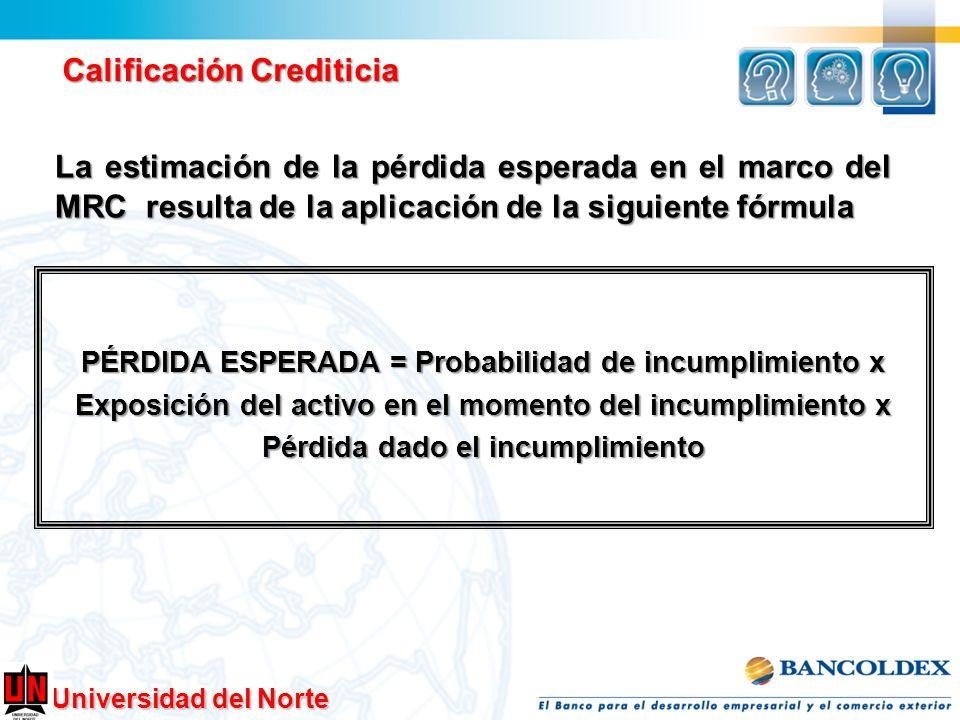 Universidad del Norte Calificación Crediticia La estimación de la pérdida esperada en el marco del MRC resulta de la aplicación de la siguiente fórmul