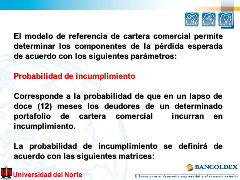 Universidad del Norte El modelo de referencia de cartera comercial permite determinar los componentes de la pérdida esperada de acuerdo con los siguie