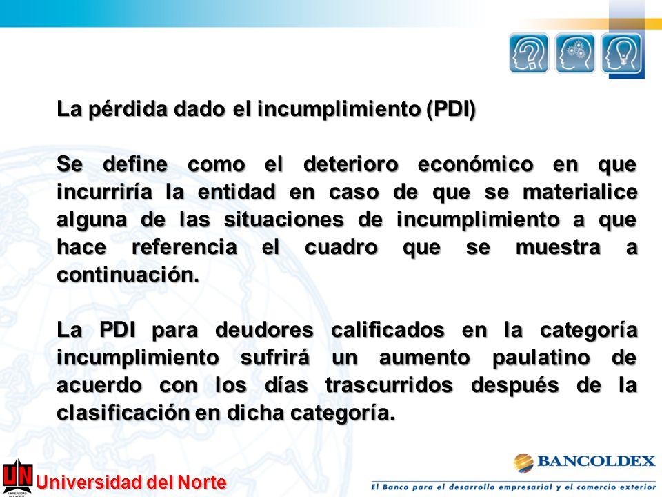 La pérdida dado el incumplimiento (PDI) Se define como el deterioro económico en que incurriría la entidad en caso de que se materialice alguna de las