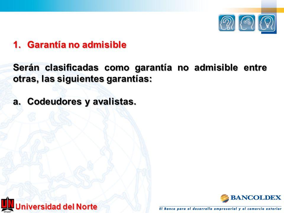 1.Garantía no admisible Serán clasificadas como garantía no admisible entre otras, las siguientes garantías: a.Codeudores y avalistas.