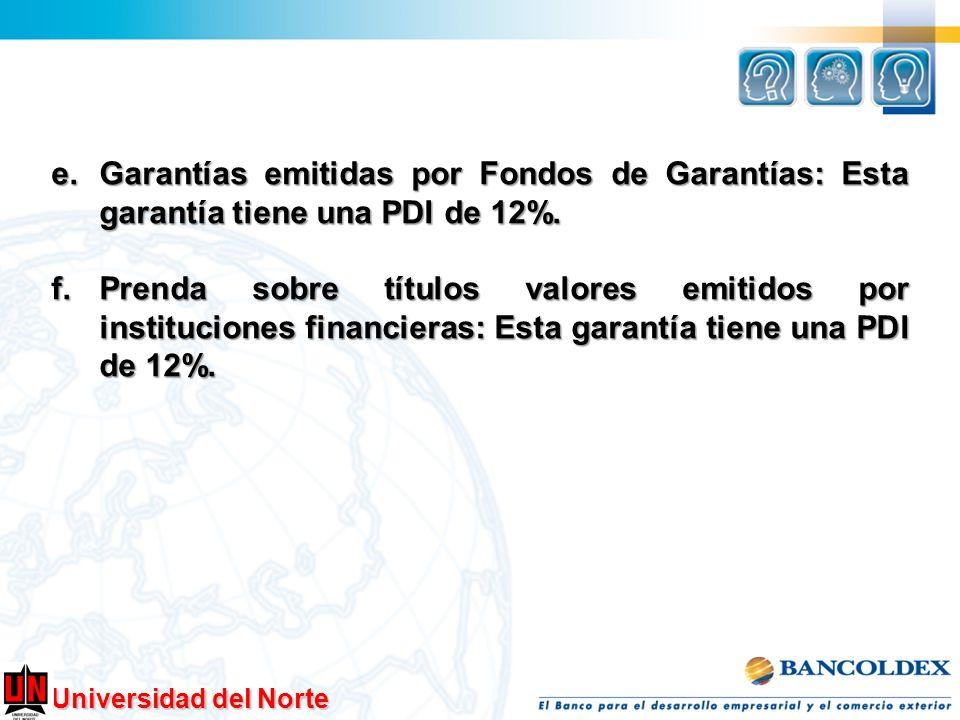 Universidad del Norte e.Garantías emitidas por Fondos de Garantías: Esta garantía tiene una PDI de 12%. f.Prenda sobre títulos valores emitidos por in