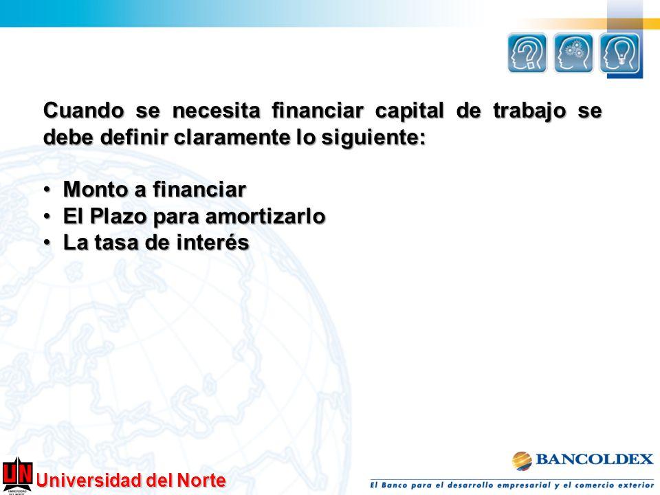 Universidad del Norte Cuando se necesita financiar capital de trabajo se debe definir claramente lo siguiente: Monto a financiar Monto a financiar El