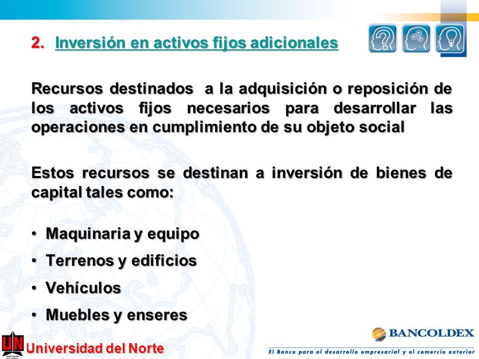 Universidad del Norte 2.Inversión en activos fijos adicionales Inversión en activos fijos adicionalesInversión en activos fijos adicionales Recursos d