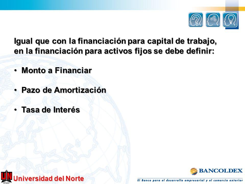 Universidad del Norte Igual que con la financiación para capital de trabajo, en la financiación para activos fijos se debe definir: Monto a Financiar