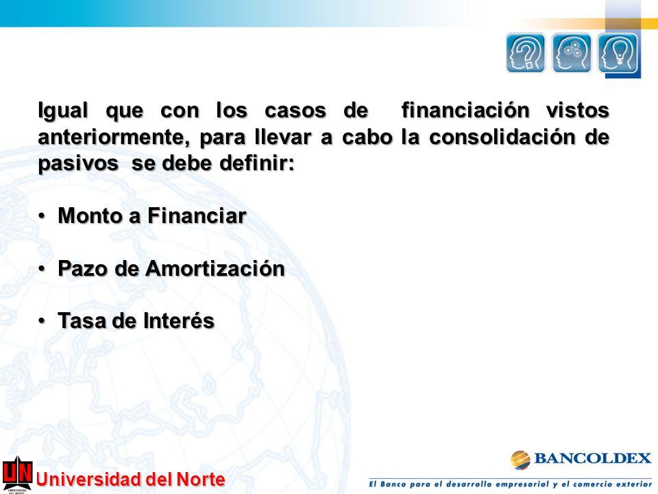 Universidad del Norte Igual que con los casos de financiación vistos anteriormente, para llevar a cabo la consolidación de pasivos se debe definir: Mo