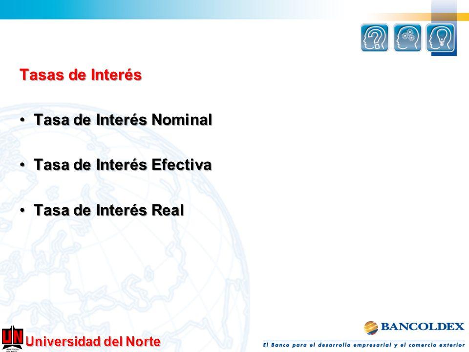 Universidad del Norte Tasas de Interés Tasa de Interés Nominal Tasa de Interés Nominal Tasa de Interés Efectiva Tasa de Interés Efectiva Tasa de Inter