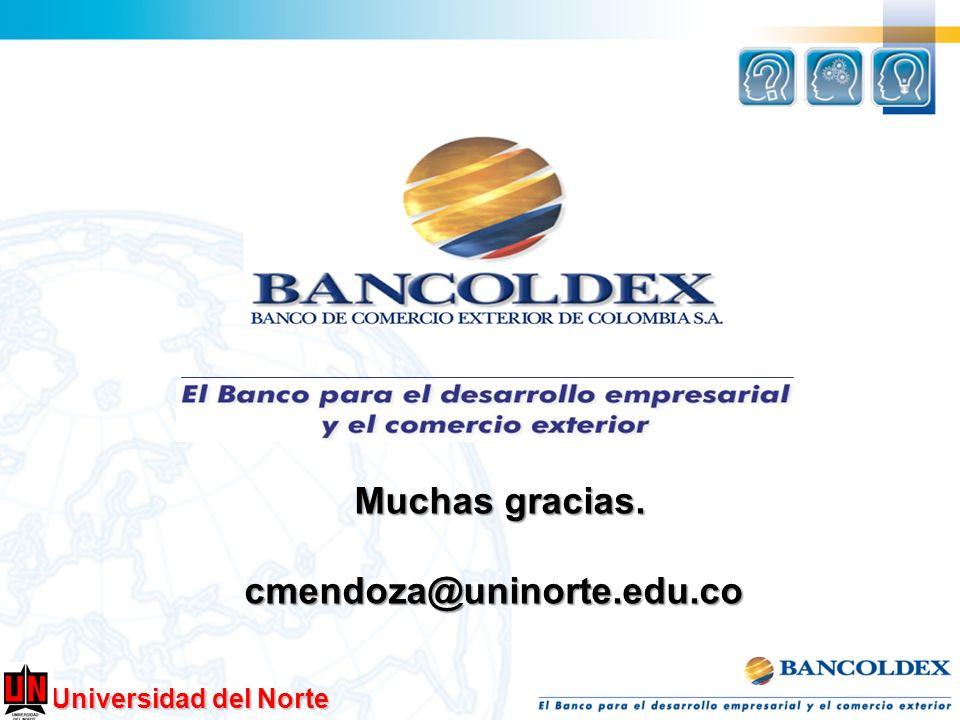 Universidad del Norte Muchas gracias. cmendoza@uninorte.edu.co