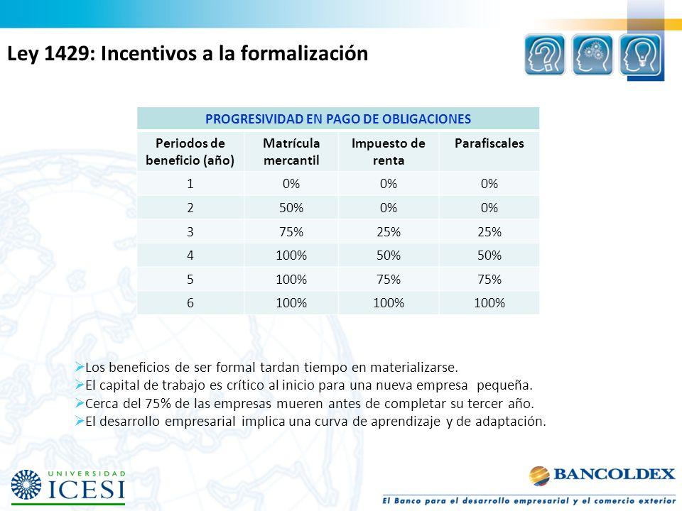 PROGRESIVIDAD EN PAGO DE OBLIGACIONES Periodos de beneficio (año) Matrícula mercantil Impuesto de renta Parafiscales 10% 250%0% 375%25% 4100%50% 5100%