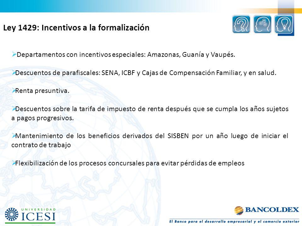 Departamentos con incentivos especiales: Amazonas, Guanía y Vaupés. Descuentos de parafiscales: SENA, ICBF y Cajas de Compensación Familiar, y en salu