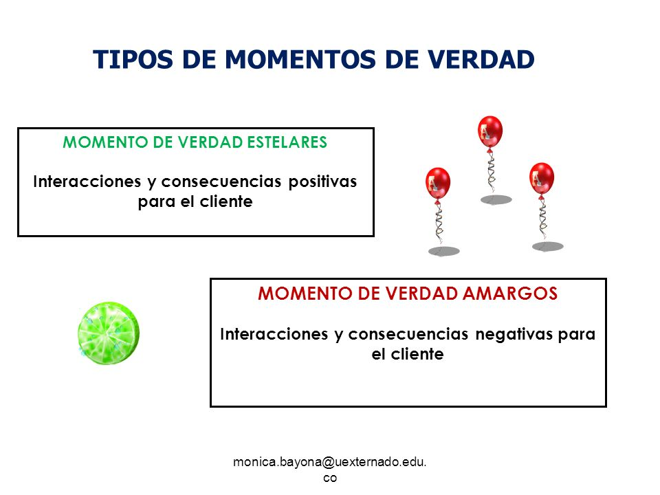 monica.bayona@uexternado.edu. co MOMENTO DE VERDAD ESTELARES Interacciones y consecuencias positivas para el cliente MOMENTO DE VERDAD AMARGOS Interac