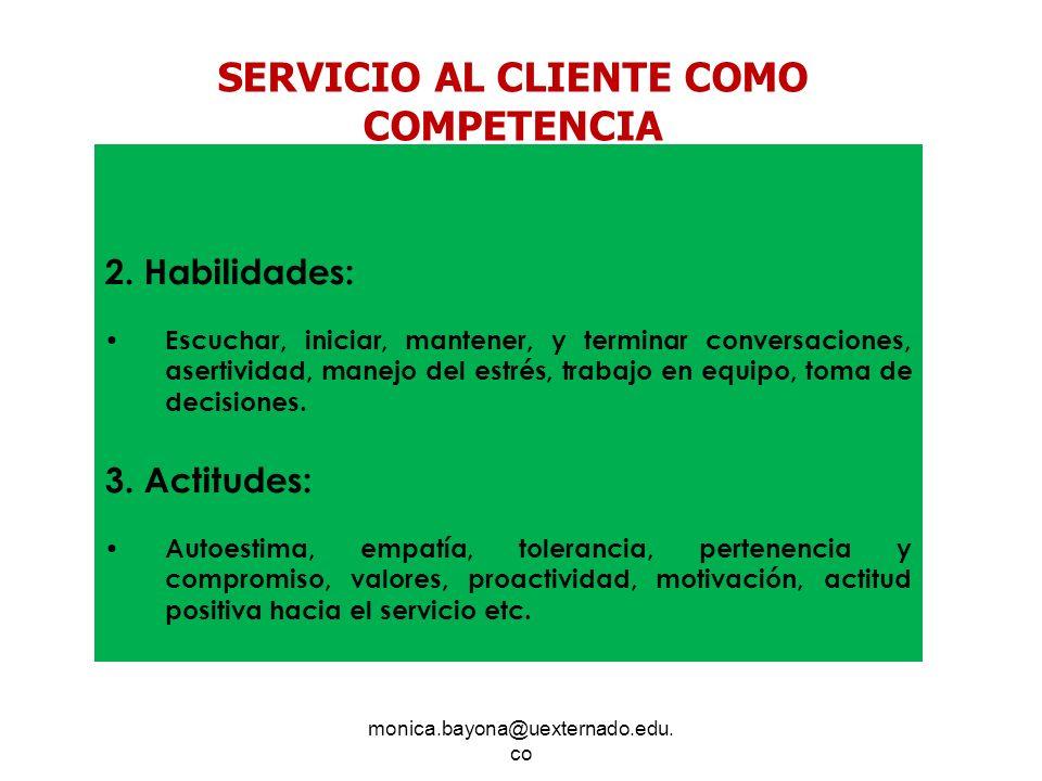 monica.bayona@uexternado.edu. co 2. Habilidades: Escuchar, iniciar, mantener, y terminar conversaciones, asertividad, manejo del estrés, trabajo en eq