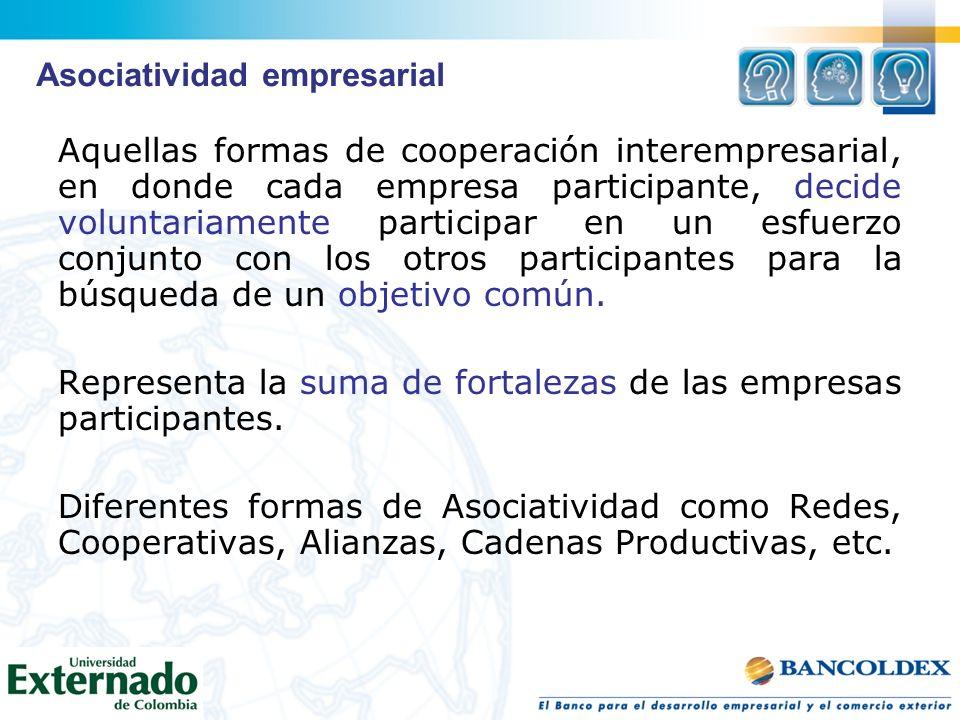Aquellas formas de cooperación interempresarial, en donde cada empresa participante, decide voluntariamente participar en un esfuerzo conjunto con los