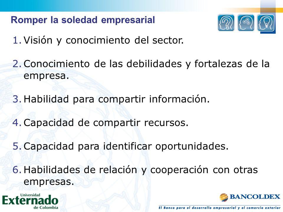 1.Visión y conocimiento del sector. 2.Conocimiento de las debilidades y fortalezas de la empresa. 3.Habilidad para compartir información. 4.Capacidad
