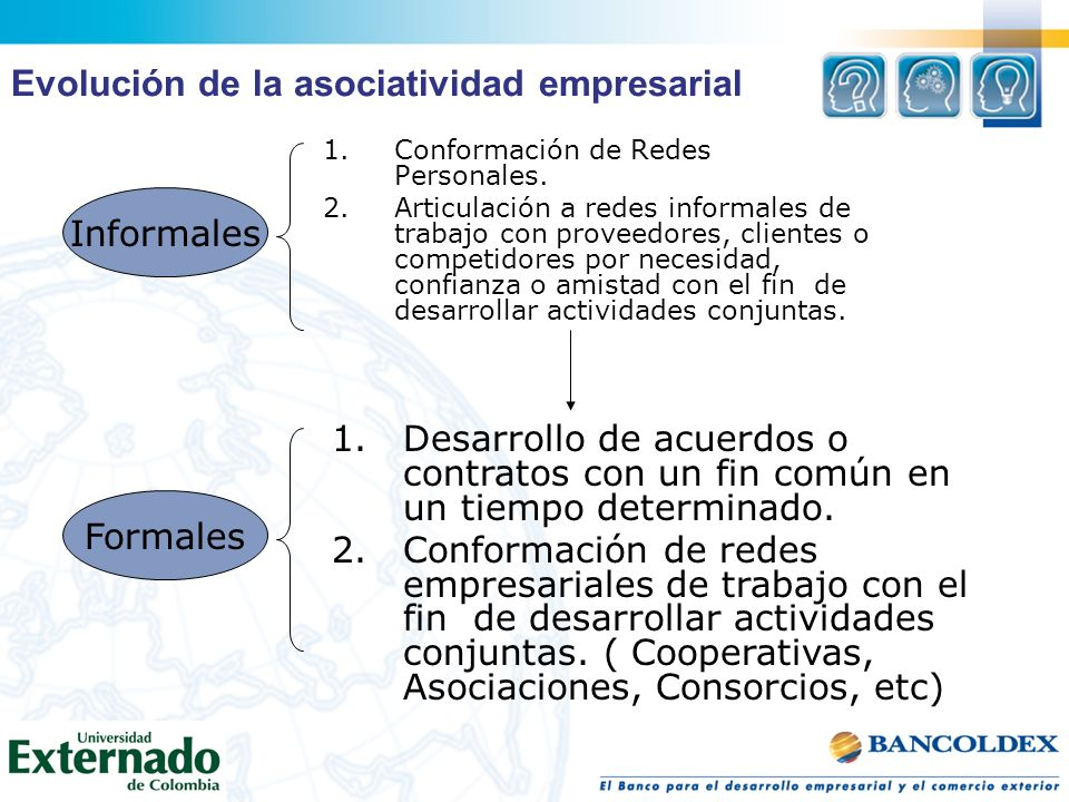 1.Conformación de Redes Personales. 2.Articulación a redes informales de trabajo con proveedores, clientes o competidores por necesidad, confianza o a
