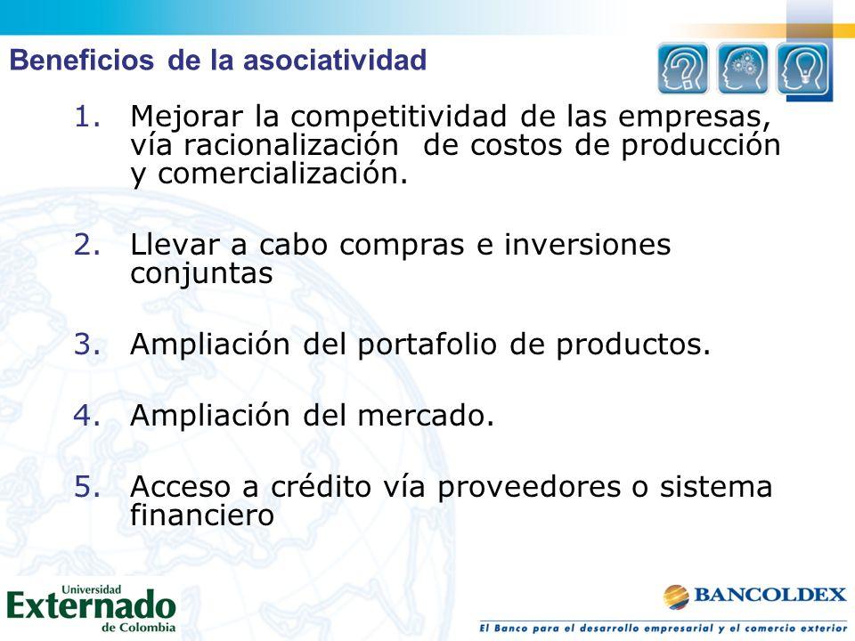 1.Mejorar la competitividad de las empresas, vía racionalización de costos de producción y comercialización. 2.Llevar a cabo compras e inversiones con