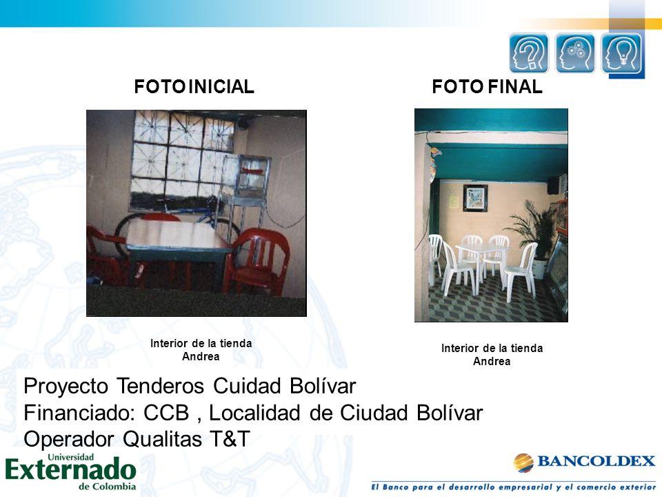 FOTO INICIAL Interior de la tienda Andrea FOTO FINAL Interior de la tienda Andrea Proyecto Tenderos Cuidad Bolívar Financiado: CCB, Localidad de Ciuda