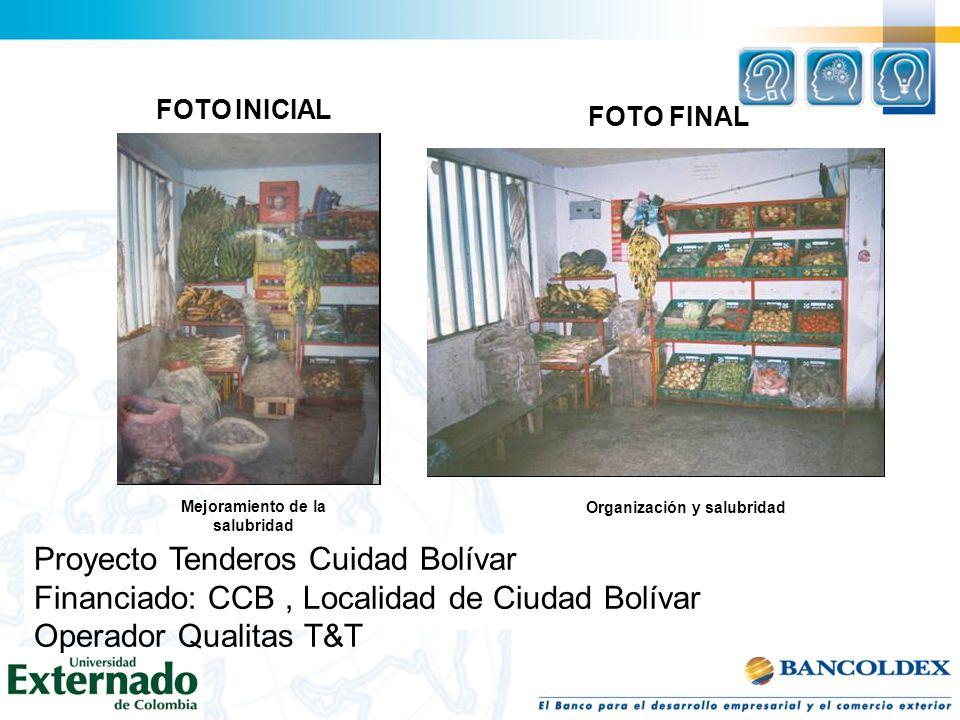 FOTO INICIAL Mejoramiento de la salubridad Organización y salubridad FOTO FINAL Proyecto Tenderos Cuidad Bolívar Financiado: CCB, Localidad de Ciudad
