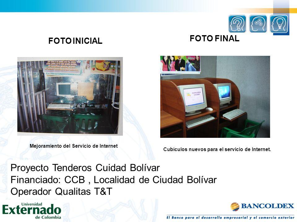 FOTO INICIAL Mejoramiento del Servicio de Internet Cubículos nuevos para el servicio de Internet. FOTO FINAL Proyecto Tenderos Cuidad Bolívar Financia