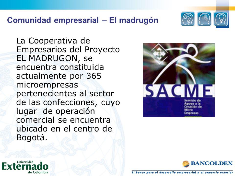 La Cooperativa de Empresarios del Proyecto EL MADRUGON, se encuentra constituida actualmente por 365 microempresas pertenecientes al sector de las con