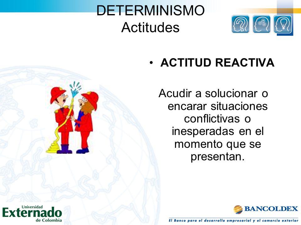 DETERMINISMO Actitudes ACTITUD REACTIVA Acudir a solucionar o encarar situaciones conflictivas o inesperadas en el momento que se presentan.