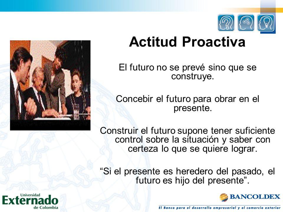 Actitud Proactiva El futuro no se prevé sino que se construye. Concebir el futuro para obrar en el presente. Construir el futuro supone tener suficien